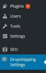 drop shipping settings tab