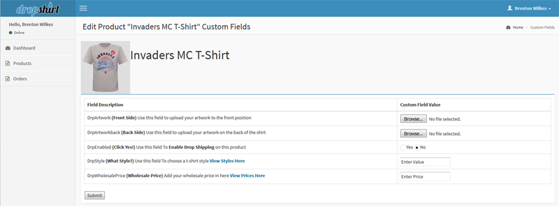 Create custom print fields