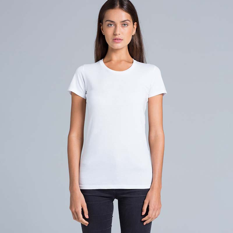 Lady wearing an ASColour wafer tee