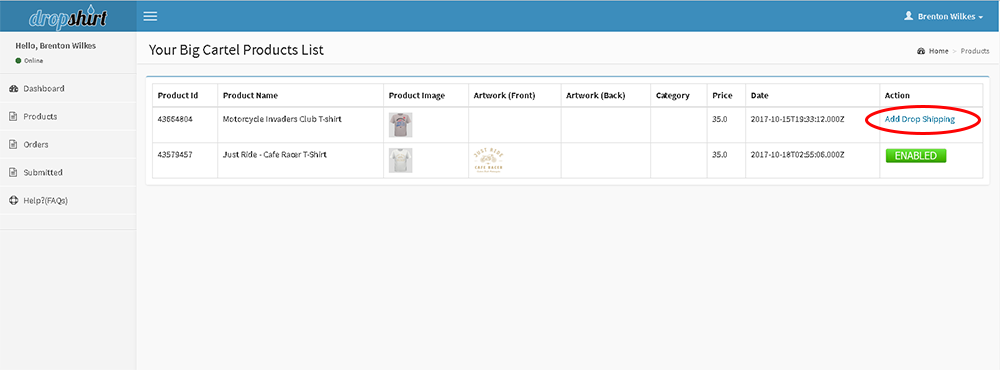 click to enable drop shipping on the big cartel product
