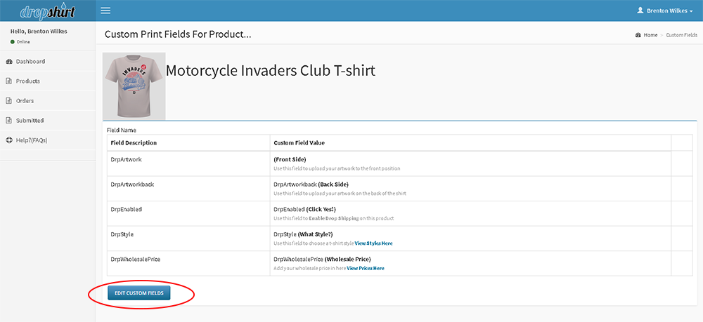 edit you custom print fields for product you want to enable for drop shipping