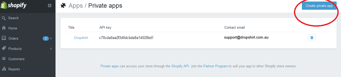 How to Create a Private APP with Shopify - DropSHIRT