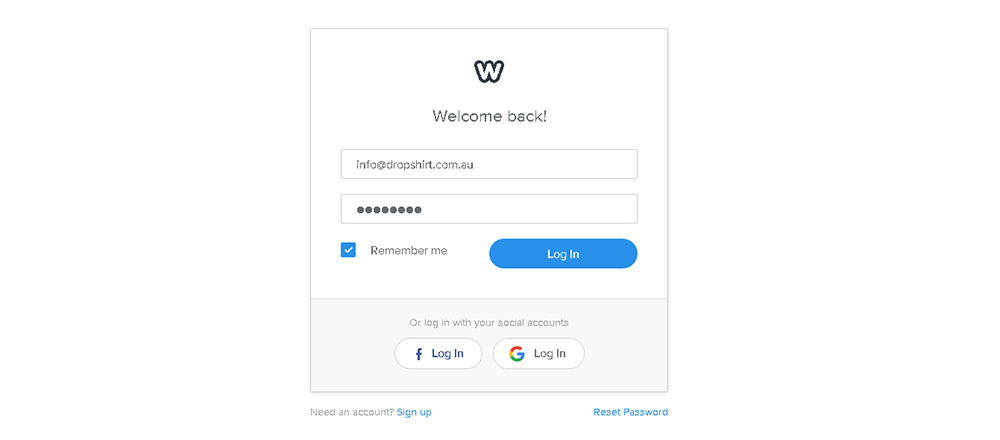 Login to your weebly store
