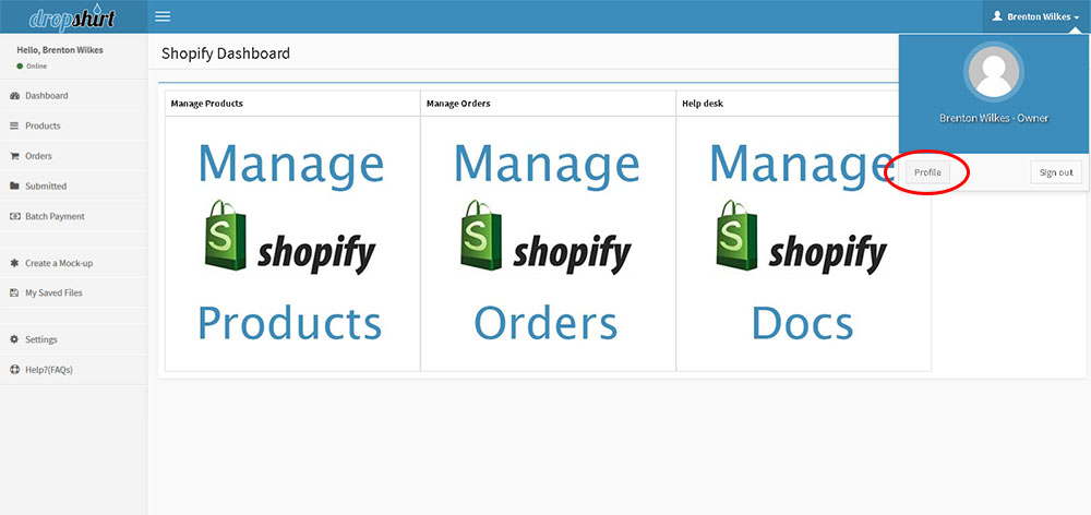 how to find the profile page in shopify