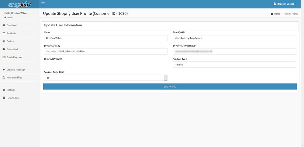 Shopify User Profile page
