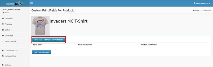 Create new custom fields in shopify