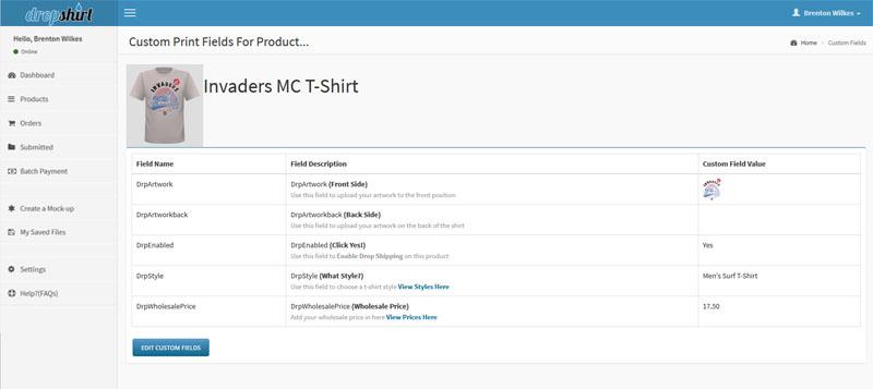 Shopify product custom fields