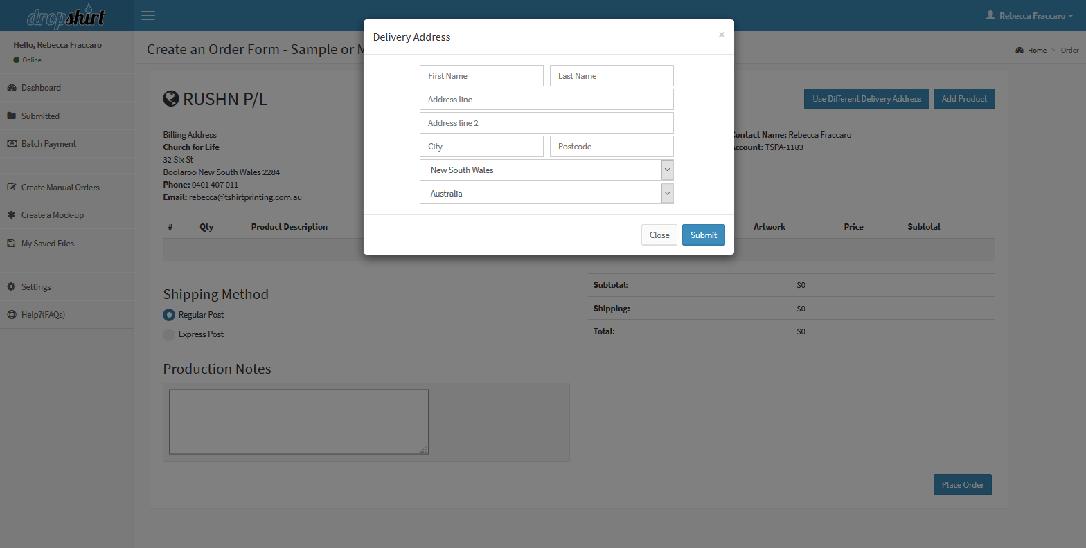 manual order form add a different delivery address